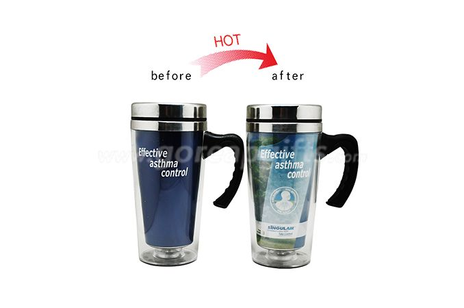 Advertising auto cup color changing travel mug stainless steel - plastic mug for wholesale