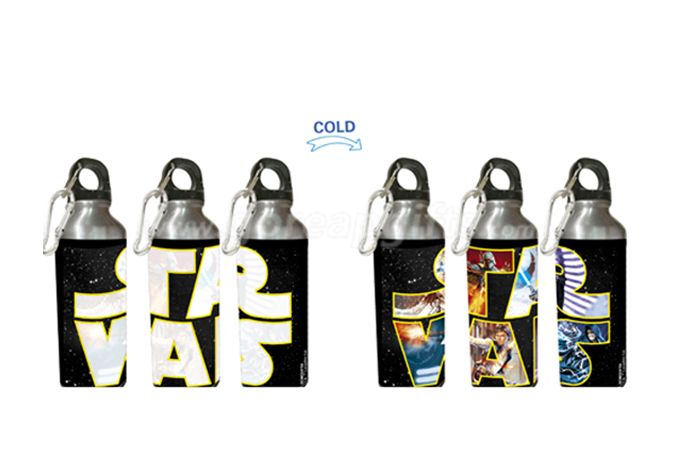 500ml Manufacturer cold color changing aluminum water bottle with SS keychains