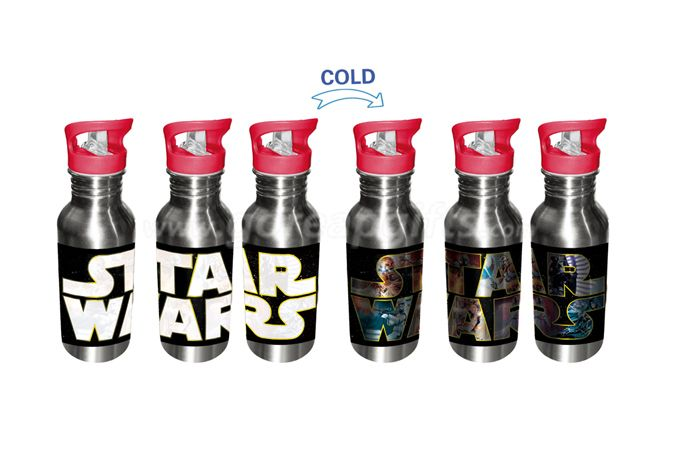 Manufacturer star war  creative  cold color changing aluminum water bottle with SS keychain