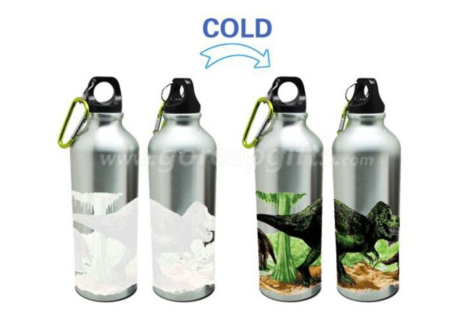 Dinosaur Creative Cold color changing aluminum water bottle with kepchain ,sports water bottle