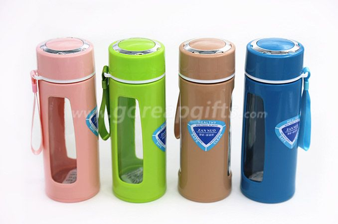 480ml Food grade glass water bottle custom BPA free