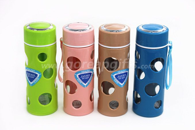 Glass Water Bottle - Eco-friendly Borosilicate Glass with plastic sleeve for Outdoor