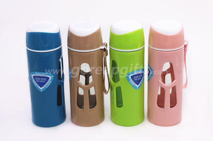 480ml Glass Water Bottle - Eco-friendly Borosilicate Glass with plastic sleeve for Outdoor