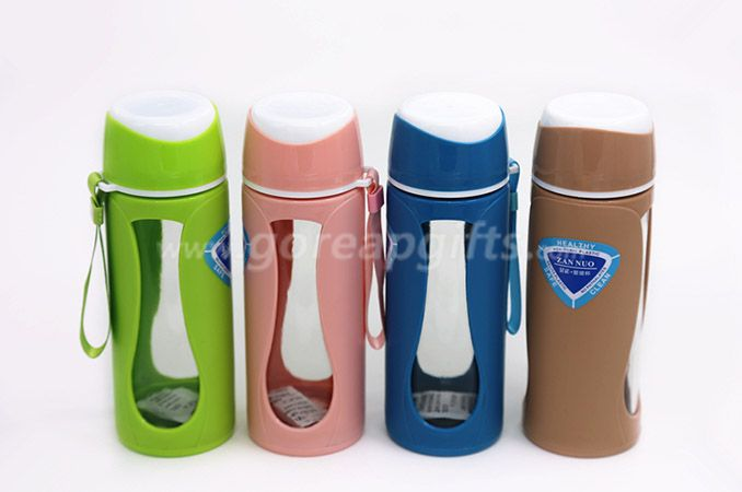480ml two-layer protective plastic glass water bottle