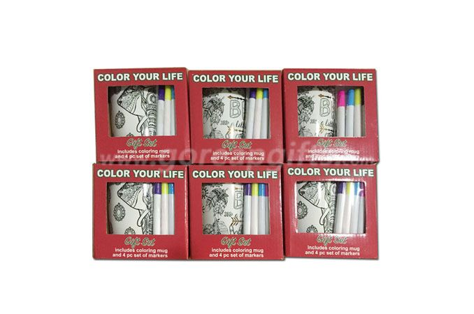 16OZ coloring ceramic  mug with  special coloring pen  and markers