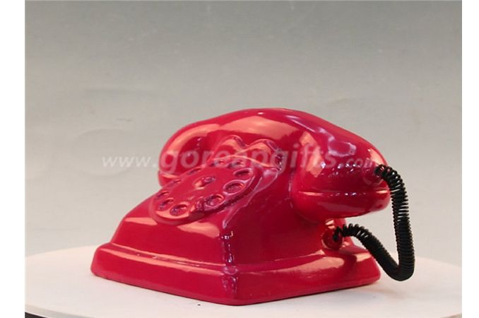 Red  telephone Ceramic Electroplating Piggy Bank