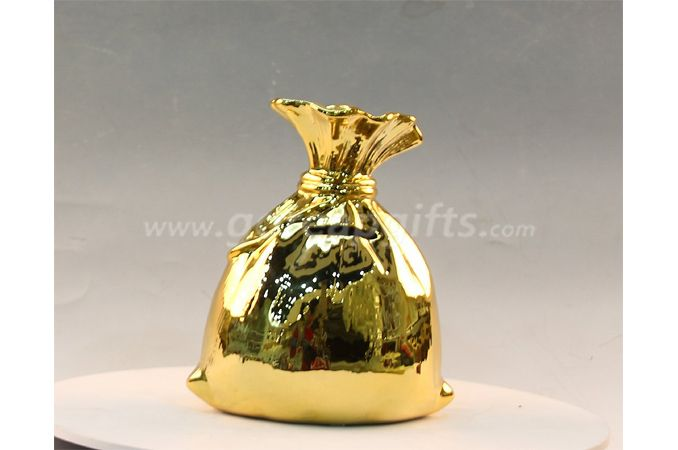 Gold bag  Ceramic Electroplating Piggy Bank