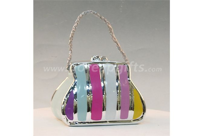 Bag electroplated ceramic  money box piggy bank ceramic coin bank