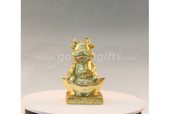 Gold bull wholesale ceramic electroplating gold piggy banks  saving money bank