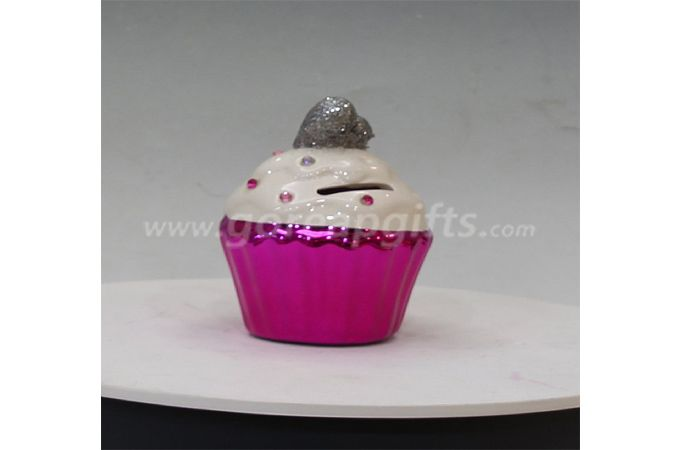 Pink cake Ceramic Electroplating Piggy Bank