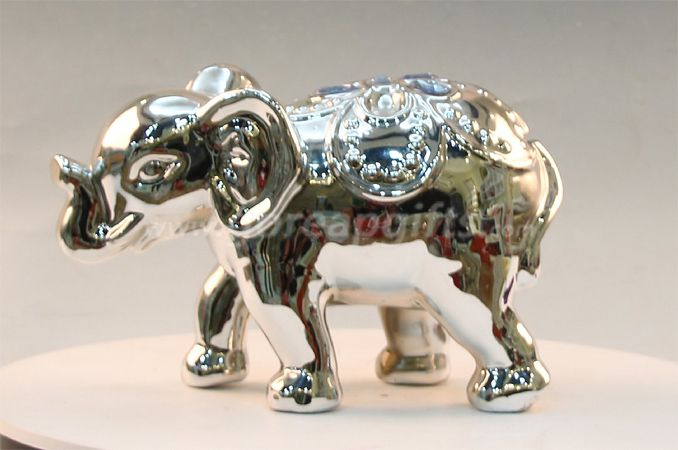 Goldbull chrome plated ceramic piggy coin bank as advertising gift