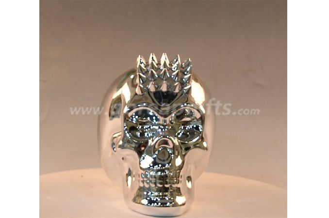 Skull silver  electroplated ceramic  money box piggy bank ceramic coin bank