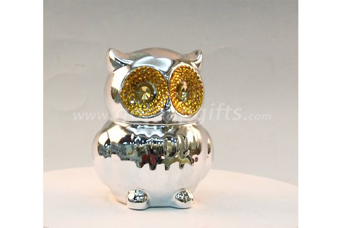 Owls   electroplated ceramic  money box piggy bank ceramic coin bank