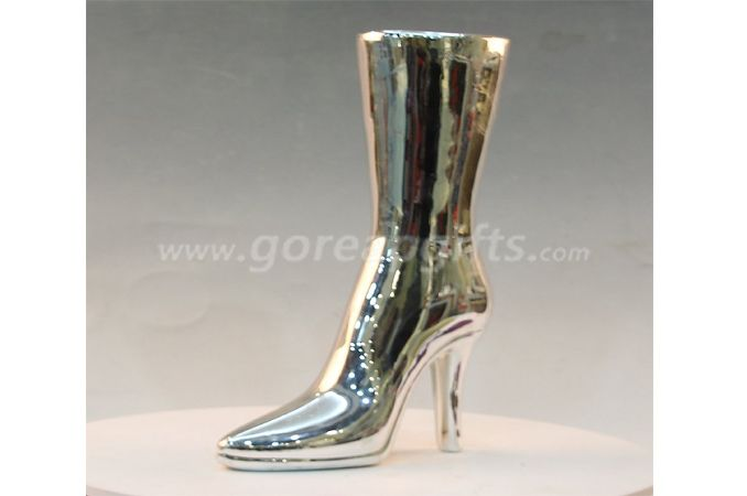 Lady boots electroplated money box Ceramic money box,ceramic piggy bank,ceramic coin bank