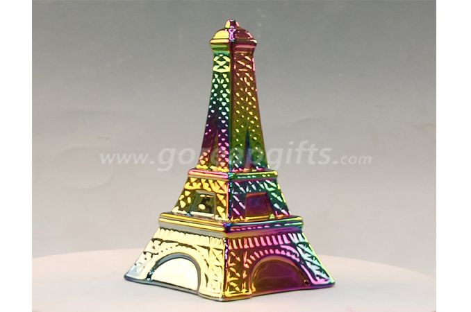 Tower  electroplated ceramic  money box piggy bank ceramic