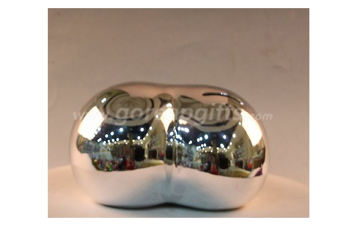 Gold heart  chrome plated ceramic piggy coin bank as advertising gift