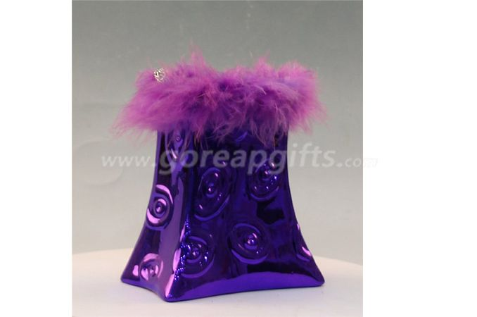 Purple fashion bag Ceramic Electroplating Piggy Bank
