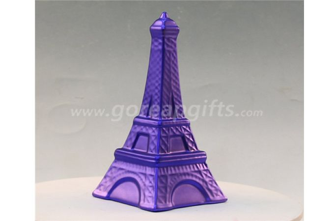 Purple tower electroplated ceramic  money box piggy bank ceramic coin bank