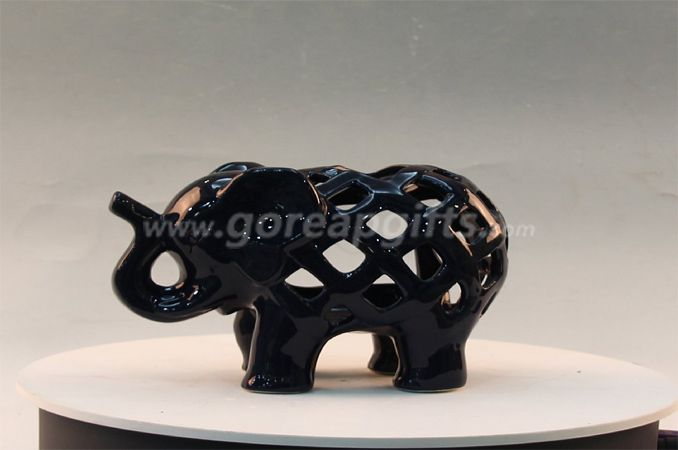Black glazed home decoration ceramic bull