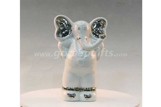 Electricplated elephant ceramic home decoration