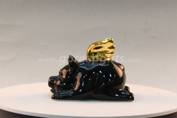 Black glazed ceramic pig home decor ceramic ware