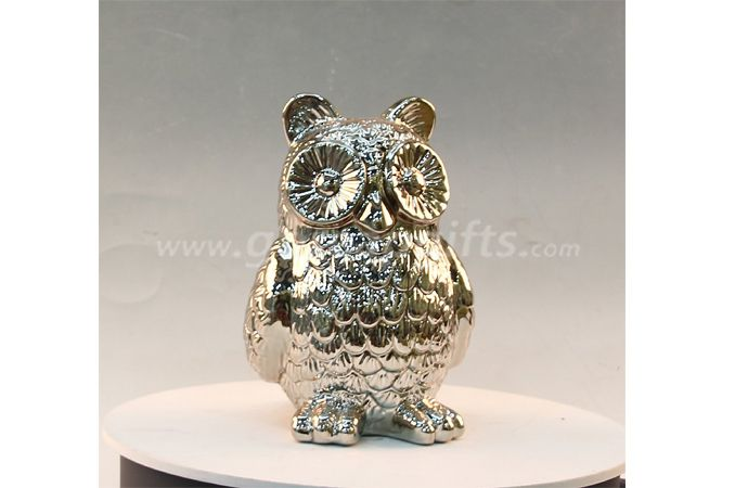 Electricplated owl creative ceramic ware home decoration