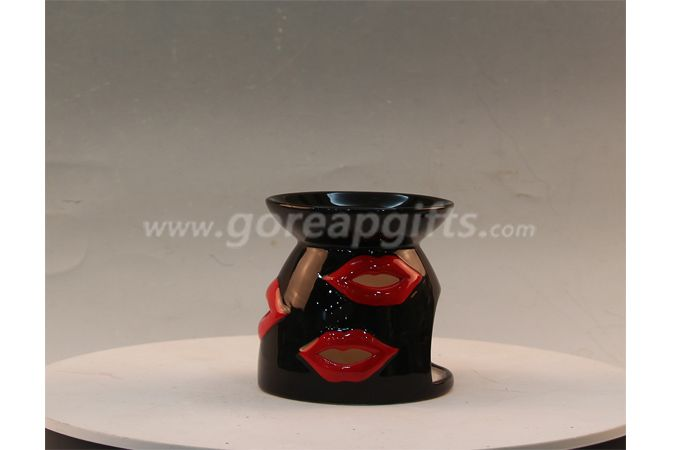 Black glazed candle holders home decoration ceamic ware