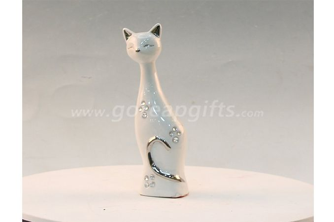 Cat with diamond home decoration ceramic ware
