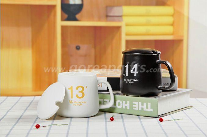High quality letters ceramic coffee mug black glazed with ceramic lid