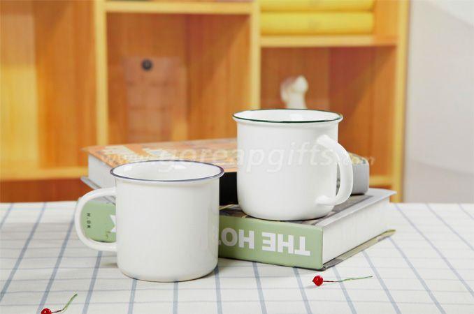 White Ceramic enamel mug imitation of metal enamel mug with blue rim customized logo