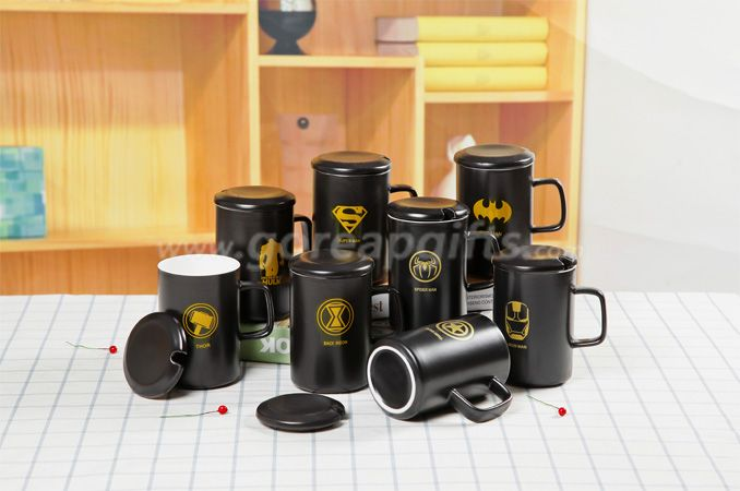 Black glazed ceramic coffee  mug with ceramic lid