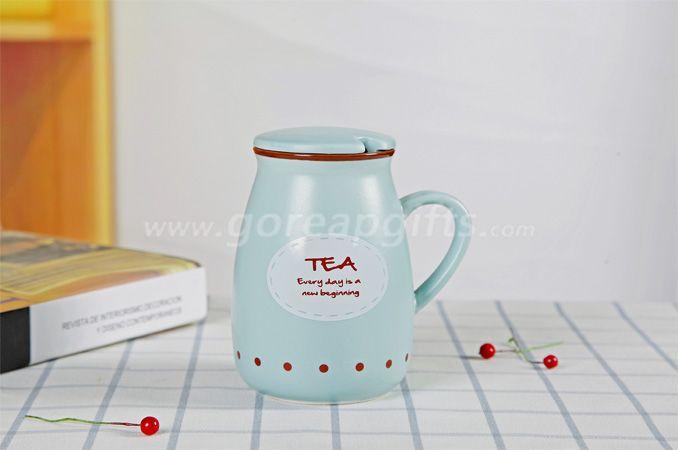 Bule color  imitated Enamel yogurt  mug made of Ceramic, creative Advertising mug