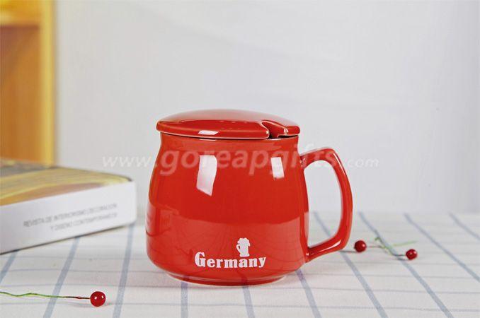 High quality promotional imitation enamel 9oz cereamic mug with ceramic lid