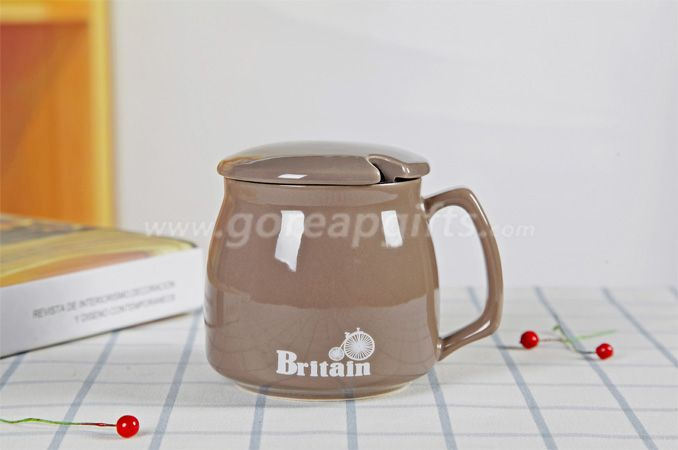Brown high quality promotional imitation enamel 9oz cereamic mug with ceramic lid
