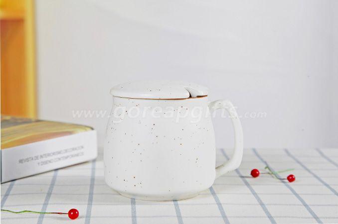 White  high quality promotional imitation enamel 9oz cereamic mug with ceramic lid