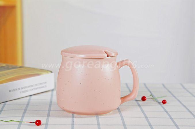 Pink  high quality promotional imitation enamel 9oz cereamic mug with ceramic lid