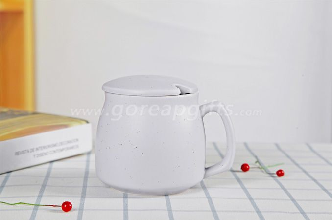 High quality promotional imitation enamel 9oz cereamic mug with ceramic lids