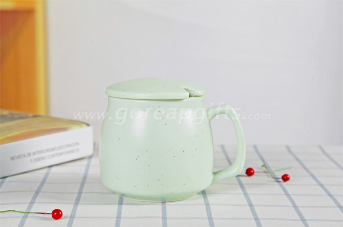 Green  high quality promotional imitation enamel 9oz cereamic mug with ceramic lid