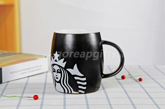 Black glazed starbuck ceramic coffee mugs factory produce
