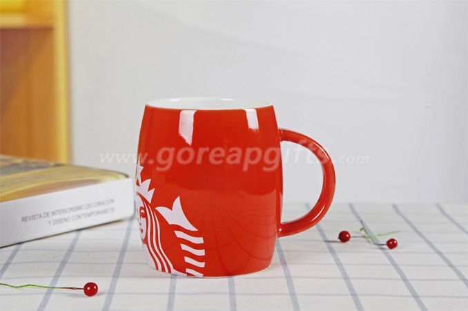 Red glazed starbuck ceramic coffee mugs factory produce