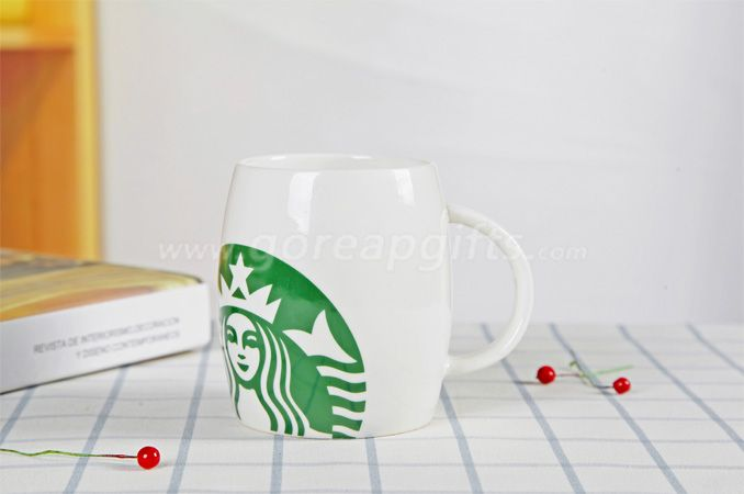 White glazed starbuck ceramic coffee mugs factory produce