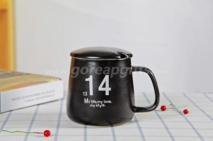 Ceramic Classic Imitation Enamelware  Mugs For Tea Coffee with ceramic lid and ceramic spoon