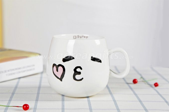 Personality ceramic cute expression mug 300ml customized milk coffee cup with lid and spoon for gift