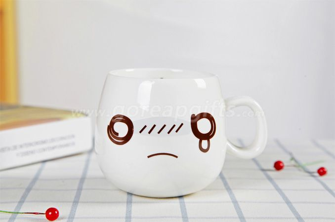 Factory Personality ceramic cute expression mug 300ml customized milk coffee cup with lid and spoon for gift