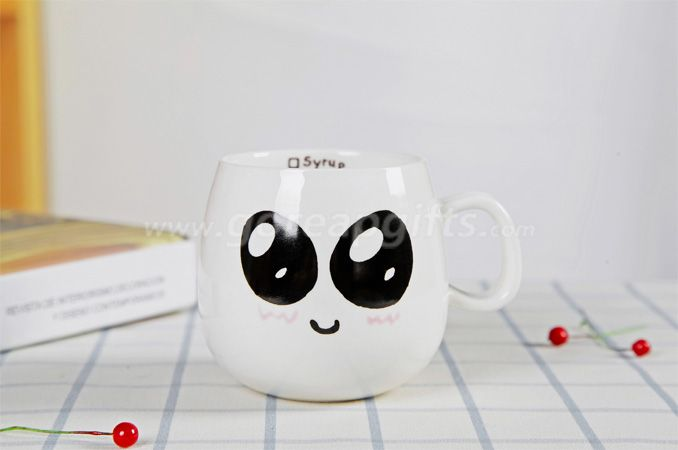 Manufacturer personality ceramic cute expression mug 300ml customized milk coffee cup with lid and spoon for gift