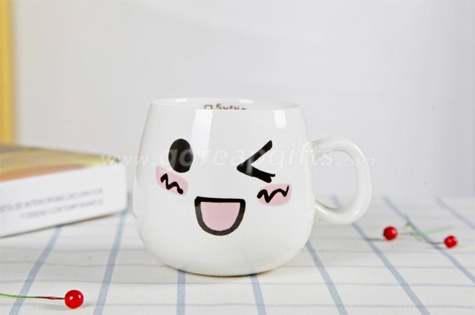 Factory Personality ceramic cute expression mug 300ml customized milk coffee cup