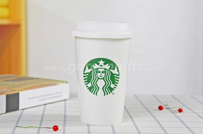 Double wall starbuck coffee ceramic mug ceramic tumbler with silicone lids