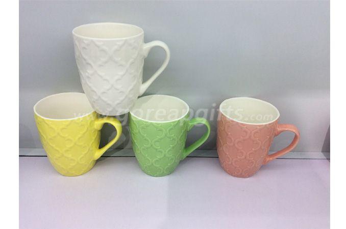 Colorful  embossed Ceramic coffee mug drinking tea cup