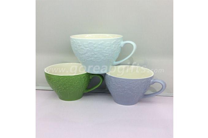 New design embossed logo ceramic mug coffee mug with certificate