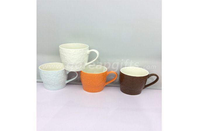 2018 New Best Fine Ceramic Embossed Coffee Mugs Porcelain Water Milk Mug